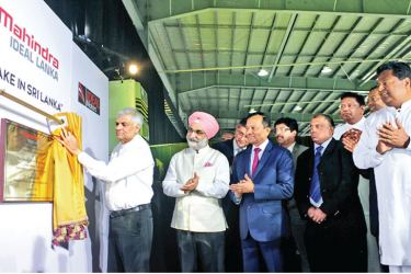 Prime Minister Ranil Wickremesinghe unveils the Automotive Assembly Plant by Mahindra and Mahindra Lanka. Mahindra and Mahindra, CIO Arvind Mathew, Mahindra Ideal Lanka Ltd, Managing Director Nalin Welgama and Ideal Group Deputy Chairman Aravinda de Silva were also present. Picture by Saliya Rupasinghe