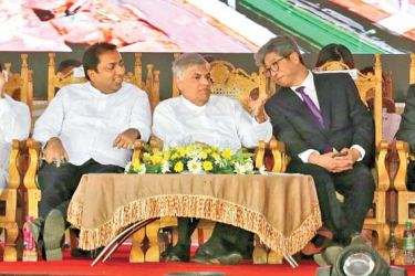 Prime Minister Ranil Wickremesinghe along with Ministers Akila Viraj Kariyawasm, Dr. Rajitha Senaratne, Rauff Hakeem and the Korean Ambassador at the foundation stone laying ceremony in Narangalle, Kuliyapitiya. Pictures by Hirantha Gunathilake
