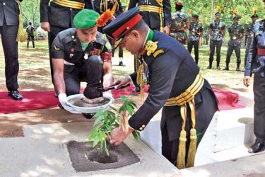 Army Commander Lt General Shavendra Silva plants a 'Na' sapling at the Gajaba Regimental Centre in Saliyapura, Anuradhapura.
