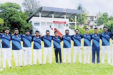 Brendon Cricket Club Division three cricket pool – 2019 : Standing (from left) Lasantha Hemal (coach) Tharusha, Isuru, Ramal, Kasun, Kaveesha, Thaveen, Shehan, Samitha, Sumudu, Senindu, Methul, Matheesha (Captain), Anjana, Brendon Kuruppu (Head Coach) Picture by Mortuwa Sports Special Correspondent