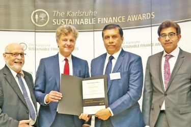 Tom Hoyem Member of the City Council of Karlsruche & Former Cabinet Minister of the Kingdom of Denmark, Dr.Frank Mentrup, Lord Mayor of Karlsruche, D.M.P Sooriya Bandara Vice President Branch Credit Management DFCC Bank, Arshad Rab, CEO European Organization for Sustainable Development, Germany.