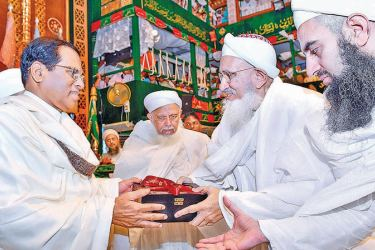 President Maithripala Sirisena yesterday extended his warm greetings to Head of the Dawoodi Bohra community, His Holiness Dr. Syedna Mufaddal Saifuddin, when he joined in the 'Bohra Global Conference 2019' being held at Sri Lanka's Bohra Headquarters in Bambalapitiya. Picture by President's Media Division.