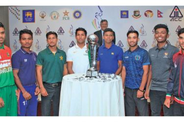 Participating team captains with the Asia Cup trophy. Picture by Sudam Gunasinghe