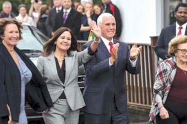 U.S Vice President Mike Pence, his wife Karen Pence, (Second Left), his sister Anne Pence Poynter,(Left), and his mother Nancy Pence Fritsch, (Right), arrive in Doonbeg, Ireland on Tuesday.