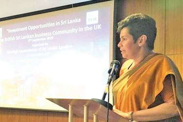 Sri Lanka's High Commissioner to the UK, Manisha Gunasekera addressing the event.