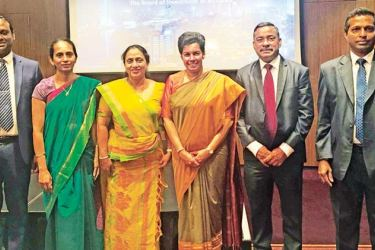 Sri Lanka's High Commissioner to the UK Manisha Gunasekera with other officials at the event.