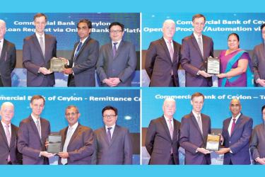 Members of the Commercial Bank team that accepted the awards (clockwise)  Upul Perera, Senior Manager Branch Credit Monitoring Dept; Aparna Jagoda, Senior Manager Marketing;  Sanath Elpitiya, Chief Manager Retail Products Dept; and Pradeep Banduwansa, Head of the Bank's Digital Banking Unit.