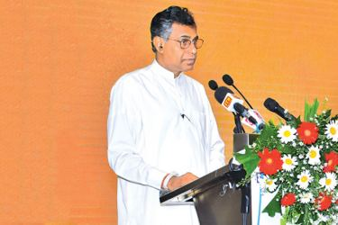 The Chief Guest Minister Ranawaka addressing the event