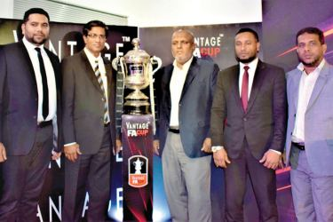 At the Vantage FA Cup 2019 round of 64 draw and the press conference held at the Football Federation of Sri Lanka Auditorium on Tuesday (from left) Mohamed Musfir – Marketing Manager, Ebony Holdings (Pvt) Ltd, Anura De Silva, President, Football Federation of Sri Lanka, Rasmi Raheem, Chairman – Ebony Holdings (Pvt) Ltd, M. Sabir Hashim, Assistant General Manager, Sales And Marketing, Ebony Holdings (Pvt) Ltd, and Zaharan Singhawansa, Chairman, Organizing Committee. Picture by Herbert Perera