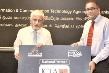 In the picture are (From Left to Right) Prof. Rohan Samarajiva-Chairman-ICTA Agency of Sri Lanka, Prabath S. Wickramaratne-President–CSSL.
