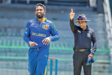 Sri Lanka A skipper Ashan Priyanjan celebrates a wicket on his way to figures of 4/10 in the first unofficial ODI against Bangladesh A at the R Premadasa Stadium yesterday.