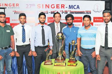 Singer Sri Lanka PLC Marketing Director Kumar Samarasinghe (centre) with the captains of the participating teams and other officials at the launch.