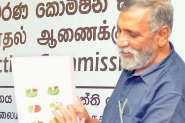 Election Commission Chairman Mahinda Deshapriya addressing the media testerday. Picture by Vipula Amerasinghe