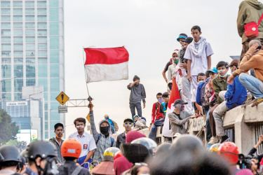 Protesters demonstrate against proposed changes to Indonesia's criminal code in Jakarta on September 20, 2019.