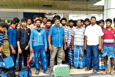 The eighteen fishermen who were released by the Indian government with their relatives.