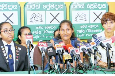 Sports stars speak at the media conference at the NDF election operations office in Colombo yesterday. Picture by Saman Sri Wedage
