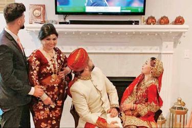 Hasan Tasleem sent a picture of his wedding day to the International Cricket Council.