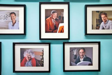 A wall of fame at Audible's studio in London.