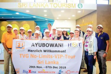The group of 16 top travel agents and TVG employees will explore the diversity of Sri Lanka on their 8 days tour through the country. Picture by  Kumarasiri Prasad-Airport Correspondent