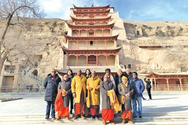The Sri Lankan delegation at the Mogao Caves.