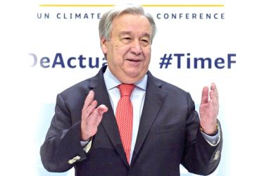 United Nations Secretary-General Antonio Guterres arrives to give a press conference, at the 'IFEMA - Feria de Madrid' exhibition centre, in Madrid, Spain  on the eve of the opening of the UN Climate Change Conference COP25. - AFP