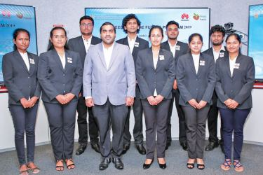 Huawei Sri Lanka Manager Public and Government Affairs Jithendra Antonio with the University Students selected for the Seeds for the Future 2019