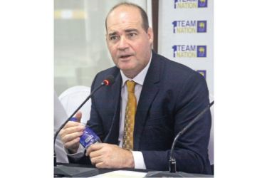 The new head coach of the Sri Lanka cricket team South African Mickey Arthur addresses the media at the SLC headquarters yesterday. (Picture by Chaminda Niroshana)