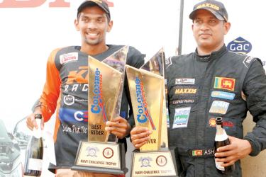 Best Rider Jacque Gunawardena (left) and Best Driver Ashan Silva with their trophies
