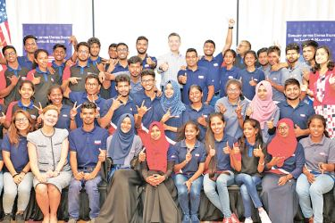 Members of the Kandy, Jaffna, Colombo, and Matara Youth Forums, which are U.S. Embassy sponsored, at the Movenpick Hotel for two days of skill building and leadership training sessions.