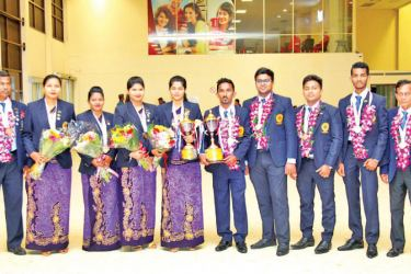 Lankan carrom teams on their arrival at the BIA
