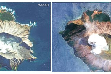 This combination of pictures created on December 10, 2019 shows handouts images courtesy of Satellite image ©2019 Maxar Technologies of the White Island volcano months before the eruption (Top) in New Zealand on May 12, 2019 and after the eruption (Bottom) on the morning of December 11, 2019. - AFP