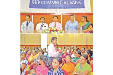 Pictured from left: Executive Officer of Commercial Bank's Development Credit Department, Deshapriya Batagoda, Wellawaya Branch Manager, Sanath Wasanthalal, Central Bank's Senior Assistant Director, Rohitha Abeykoon, Head of Vidatha Resource Centre Moneragala, Indika Fonseka and Uwa Wellassa Women's Society President, K. P.  Somalatha at the seminar.
