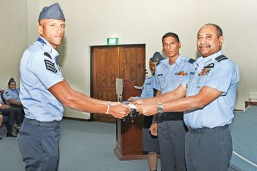 One of the Air Force personnel receiving an award.