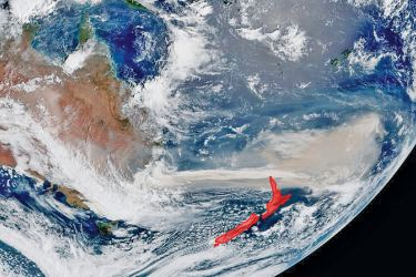 Satellite images show how Australia's bushfires have drifted 2,000km across the Tasman Sea, shrouding New Zealand, while the haze has reached as far as Chile and Argentina.