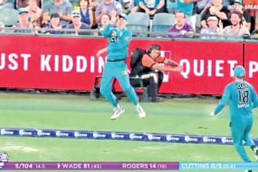 Confusion reigned over this boundary catch in the BBL match between  Hurricanes and Heat.
