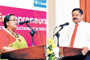 Pictured here are Women's Chamber of Industry and Commerce Chairperson Chathuri Ranasinghe and Commercial Bank Managing Director and CEO S. Renganathan speaking at the 'Wom Entrepreneur' program.