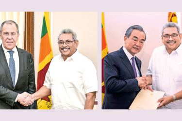 Russian and Chinese Foreign Ministers Sergey Lavrov and Wang Yi called on President Gotabaya Rajapaksa at the Presidential Secretariat on Tuesday. Pictures courtesy President's Media Division