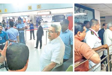 PRESIDENT VISITS BIA: President Gotabaya Rajapaksa made an unannounced visit to the Bandaranaike International Airport (BIA) in Katunayake yesterday. President Rajapaksa spent time speaking to the airport staff and passengers. Pictures courtesy President's Media Division