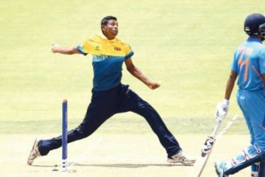Matheesha Pathirana bowling against India in the Under 19 Cricket World Cup match where he set a new world record for the fastest delivery recorded.