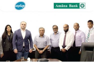 Amãna Bank OrphanCare Chairman Ruzly Hussain with Treasurer Rohan Tudawe and MegaPay (Private) Limited General Manager Vardan Aslibekyan after signing the agreement. Amãna Bank Chief Executive Officer Mohamed Azmeer,  VP Retail Banking & Marketing Siddeeque Akbar, CIO Rajitha Dissanayake, Head of OrphanCare Azad Zaheed while representing MegaPay (Private) Limited and Marketing and Business Development Manager Ushantha Samaraweera and Business Development ExecutiveSumeya Kuthubdeen looks on.
