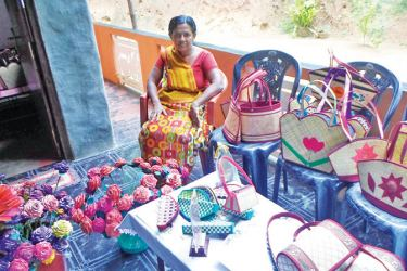 A handicraft worker with her products.