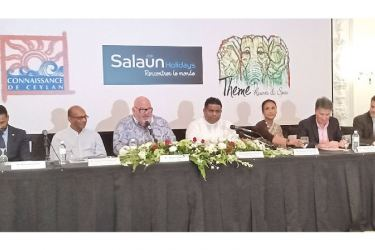 Sri Lanka Tourism's Chairperson Kimarli Fernando, Minister Arundika Fernando and other officials at the press conference at Galle Face hotel