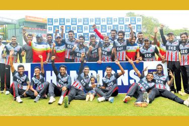 The champion CCC team with the SLC Major T20 trophy.