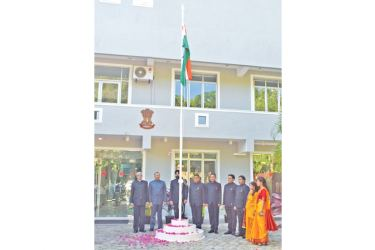 The Indian National Flag being hoisted
