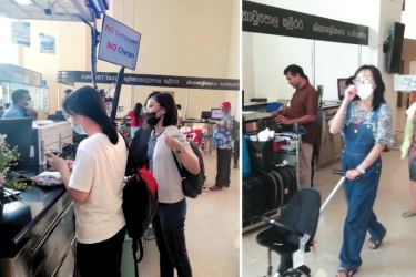 Chinese nationals at the Bandaranaike International Airport.  Picture by T.K.G. Kapila, Katunayake Group Corr.