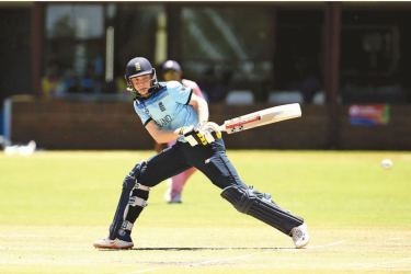 England under 19 opener and Player of the Match Dan Mousley displays his range of shots during his match winning century in the Under 19 World Cup Plate final against Sri Lanka.