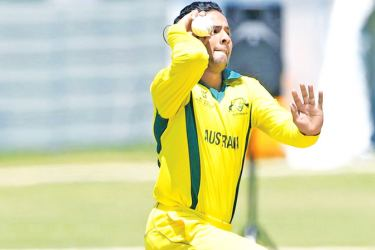 Tanveer Sangha of Australia during the ICC U19 Cricket World Cup Super League Play-Off Semi-Final match against Afghanistan at Absa Puk Oval, Potchefstroom on Sunday.