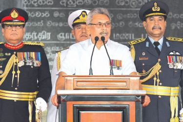 President Gotabaya Rajapaksa addressing the nation  during the 72nd Independence Day celebrations at Independence Square yesterday. Picture by Sulochana Gamage