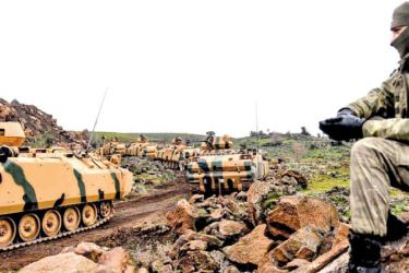 Turkish troops near the Syrian border.