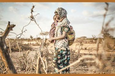 Amina Ibrahim (50) arrived in the camp in Gunagado, Ethiopia after the drought killed her family's cattle and an outbreak of disease endangered her family.